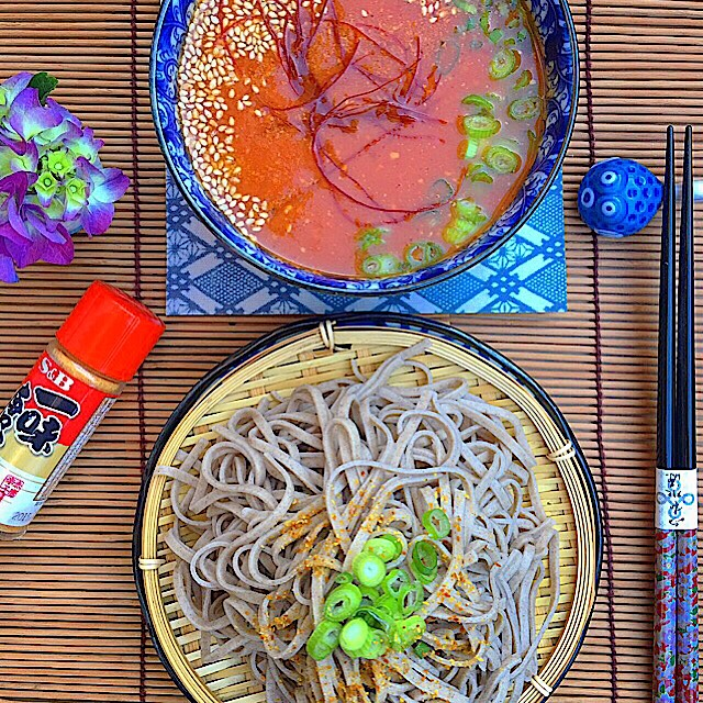 Tsukemen (Dipping Noodles) With A Spicy Tomato & Miso Soup